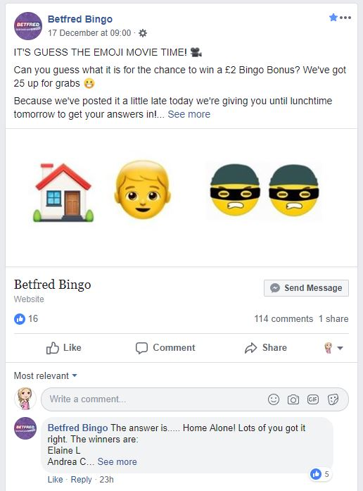 One of Betfred Bingo's Facebook games