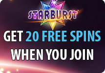 20 FREE spins on Starburst at bgo