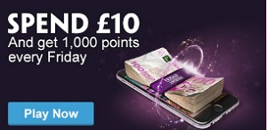 Spend £10 and get 1,000 points at Paddy Power Bingo